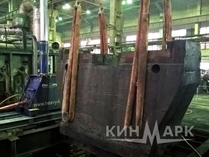 Drop forging hammer anvil block lifting, dismantling and installation