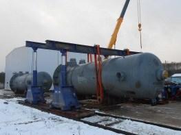 Выгрузка грузов гидравлическим порталом