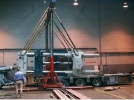 Погрузка узла смыкания ТПА STORK гидравлическим порталом на автотранспорт