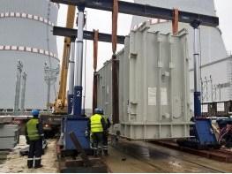 Установка трансформатора гидравлическим порталом